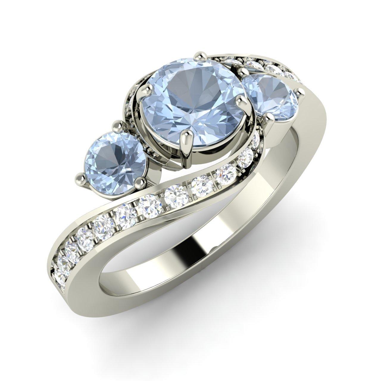 Aquamarine Side Stone Engagement Rings