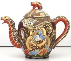 Satsuma Moriage Teapot Immortals Dragonware Taisho Period c1920s Kwannon... - $142.50
