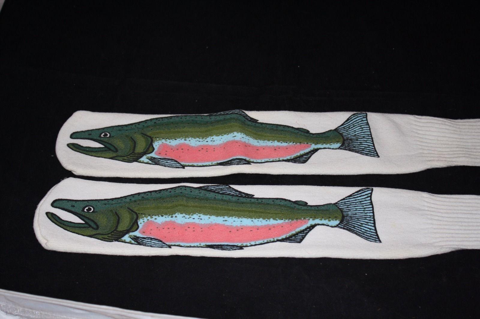 Fishing trout socks fisherman gag gift socks white socks for Fishing gag gifts
