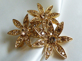 LC signed  flower gold tone citrine crystal Pin Brooch - $24.75