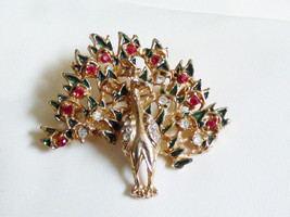 Gold tone red & clear crystal Peacock pin Brooch - $14.85