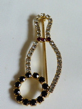 Gold tone black  red & clear crystal Bowling pin Brooch - $24.75