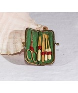 Vintage travel manicure set nail care completed Germany leather case rustic - $26.72