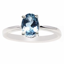 Ring Sz Q Solid Blue Topaz Shiny Gemstone 925 Sterling Silver Jewelry SH... - $12.72