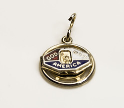 Vintage God Bless America Sterling Silver & Enamel Charm - $16.78