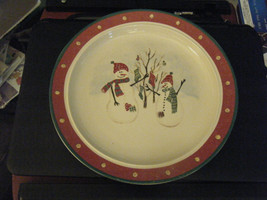 Royal Seasons Christmas Holiday Snowman Theme Stoneware Dinner Plate - $15.83