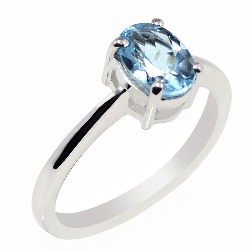 Ring Sz Q Solid Blue Topaz Shiny Gemstone 925 Sterling Silver Jewelry SHRI0690