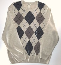 Dockers Argyle Soft Comfort Touch Crewneck Sweater XXL Classic Fit Beige... - $24.74
