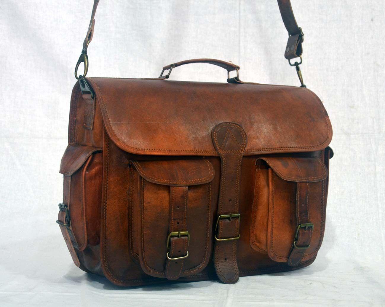vintage soft leather messenger brown real laptop satchel bag camera briefcase