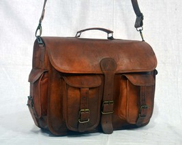vintage soft leather messenger brown real laptop satchel bag camera brie... - $63.45
