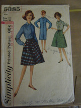 Vintage 1960's Simplicity 5385 Shift Dress & Wrap Skirt Pattern-Size 12 ... - $8.91