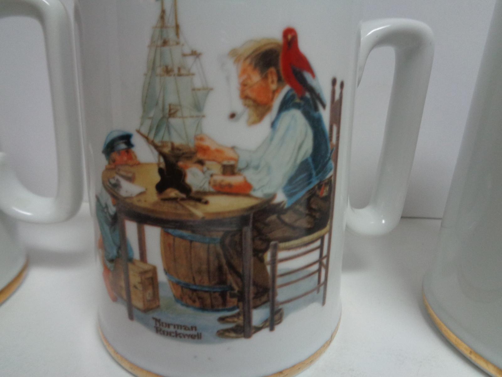 1985 Norman Rockwell Gold Trim Porcelain Decor Art Mugs Set of 3