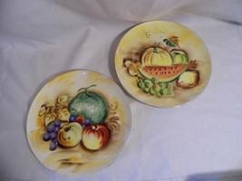 "2 vintage ENESCO Fruit pattern decorative collectible 8 3/4"" PLATES wall decor - $11.99"