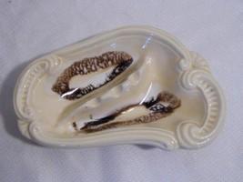 vintage retro POTTERY cigarette ASHTRAY cream, brown glaze Tobacciana - $7.99