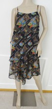 Free People Chiffon Tiered Flare Casual Dress Sundress Sz 2 Black Brown Print - $39.55