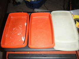 Vintage Tupperware 816-17/816-18 Red Deli Keeper Containers w/Lids - $19.61