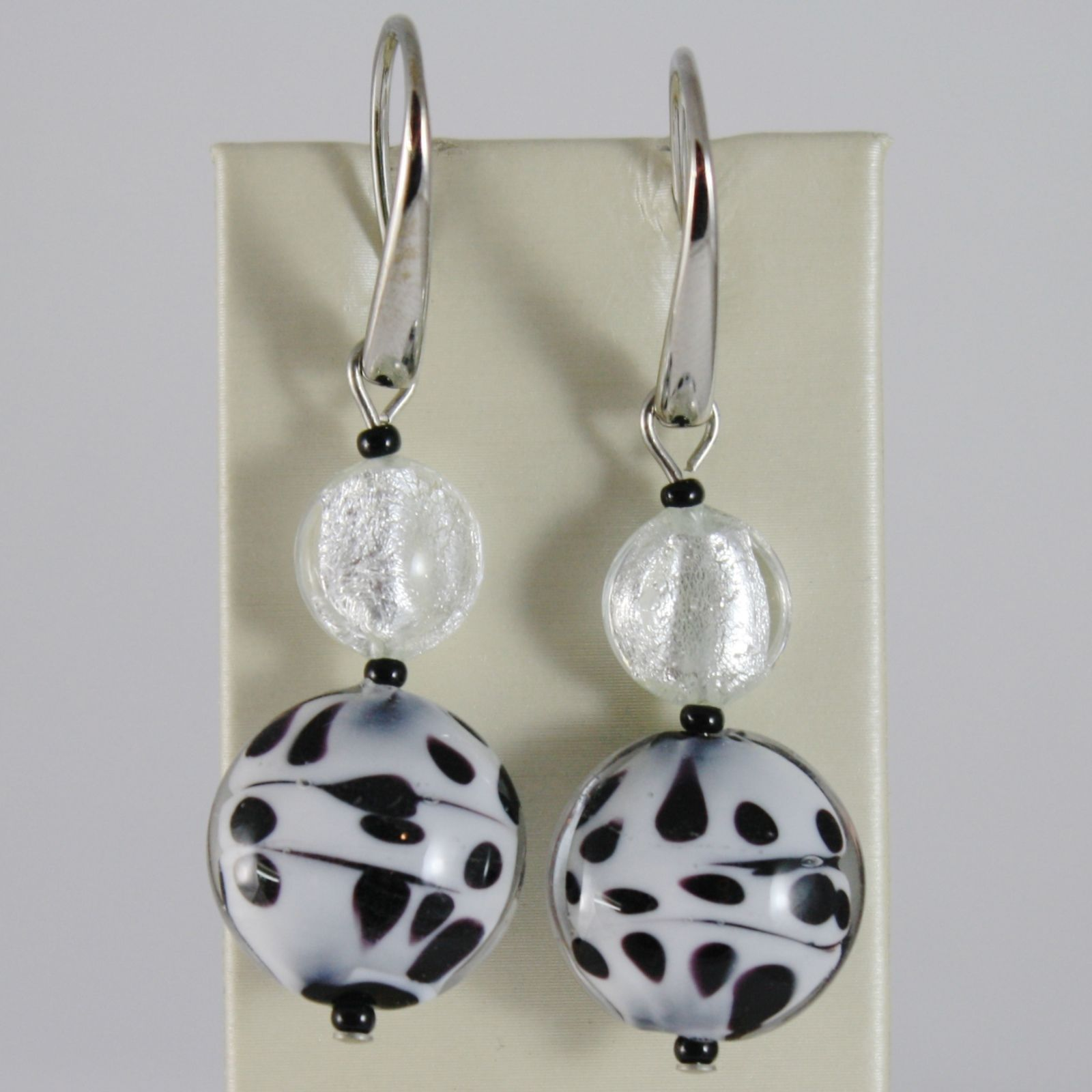 ANTICA MURRINA VENEZIA DISCS AUDREY PENDANT 5 CM EARRINGS BLACK & WHITE POIS
