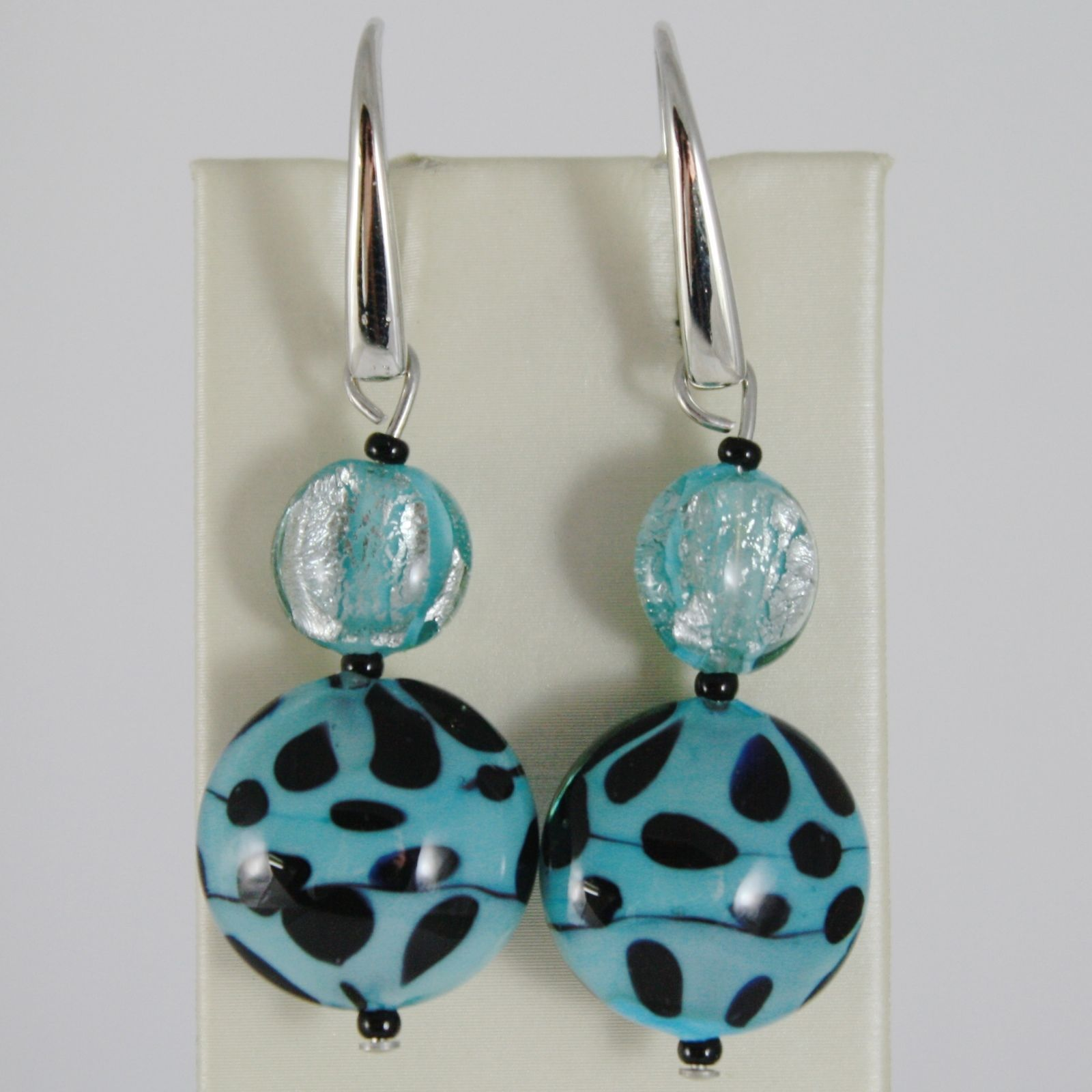 ANTICA MURRINA VENEZIA DISCS PENDANT 5 CM EARRINGS TURQUOISE & BLACK POIS