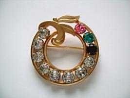 VAN DELL 1/20 12K GF Gold Filled W/ Cut Clear Green Pink Red Rhinestone Brooch - $34.75