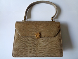 Vintage BELLESTONE Timeless Beauty Genuine Lizard Skin 50s 60 Vintage Ha... - $285.83
