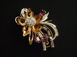 Gold Filled with Oval Cut Purple & Cluster Rhinestones Vintage Floral Brooch  - $83.11