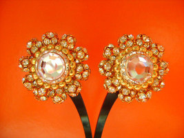 Gold Tone With Diamante Rhinestones Accents Showy Chunky Clip-on-Back Ea... - $27.12