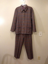 Appleseed's Women's Size 12 Business Casual Pantsuit Set Glen Plaid Black Brown