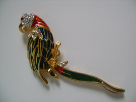 Green Blue Red Enamel Embellished W/Rhinestones PARROT Bird Brooch Pin  - $31.00