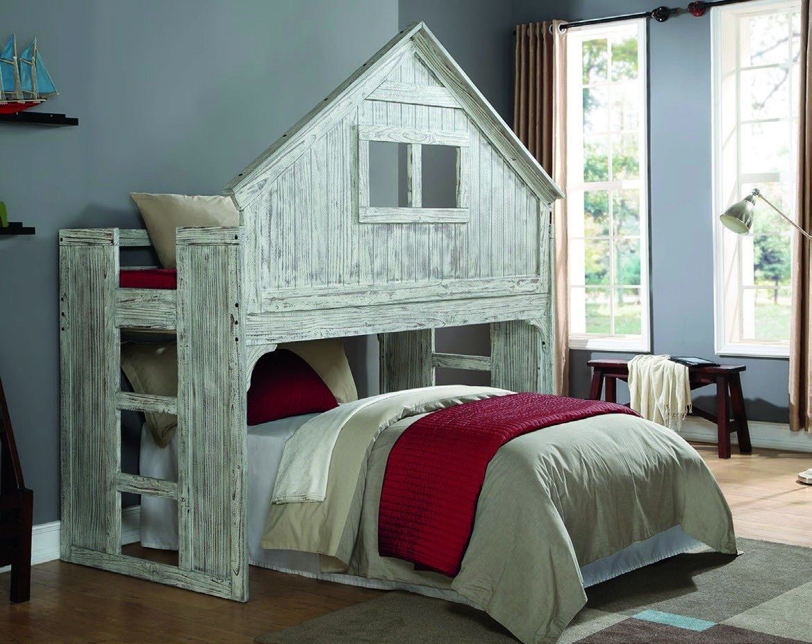 Kids Twin Club House Loft Or Bunk Bed Add Full Bed Or