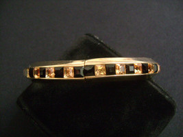 WHITING DAVIS Gold Tone w/ Princess Cut Black & Champagne Rhinestones Bracelet - $28.00