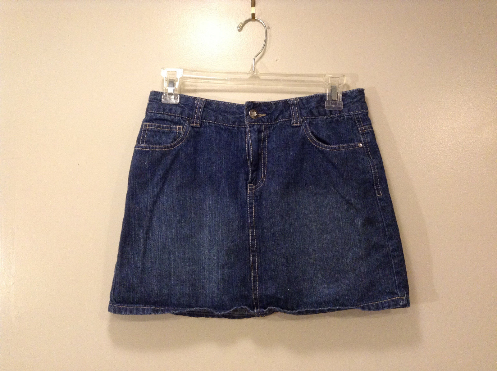 Faded Glory Women's Junior Size 16 Denim Mini Skirt Dark Blue Wash Embroidered
