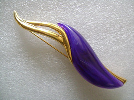 PARK LANE Gold Tone W/ Purple Ink Thermo Lucite/Hard Plastic Pin/Brooch - $28.00