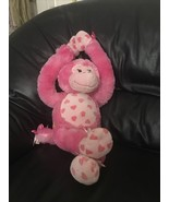 BAB Build A Bear Pink Hearts Gorilla Monkey Plush Stuffed Animal - $39.99
