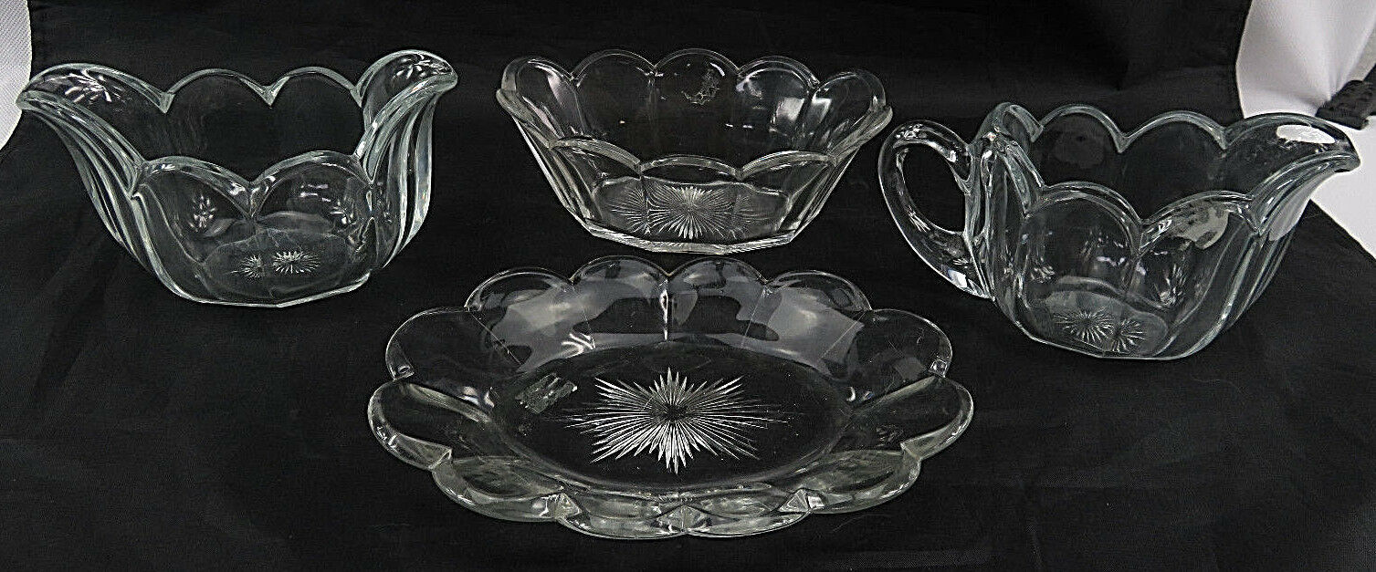 Primary image for 4 VTG Heisey Art Glass Sugar Creamer Oval Bowl & Tray Set Crystolite Pattern 3""