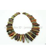 Natural Picasso Jasper Gemstones Graduated Stick Beads Pendant 15mm - 40mm - $10.97