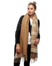 Women's Camel Acrylic Two Tone Plaid Check Scarf - €11,13 EUR
