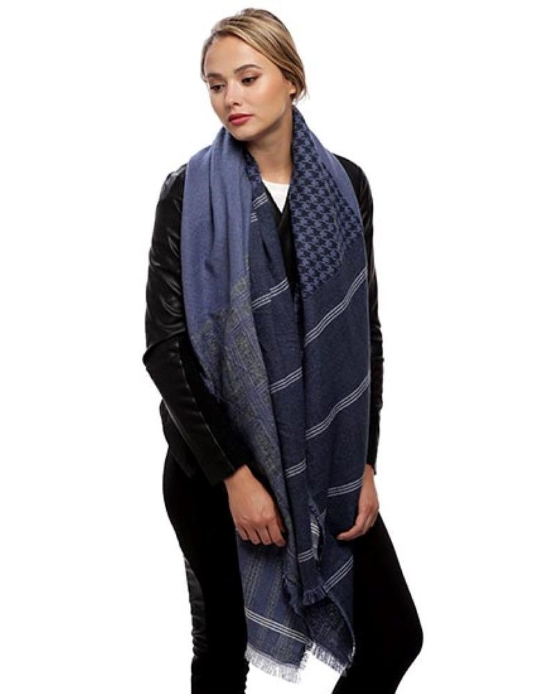 Women's Navy Blue Mix Check Pattern Acrylic Scarf