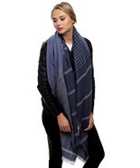 Women's Navy Blue Mix Check Pattern Acrylic Scarf - £8.78 GBP
