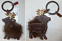 Coach Mink Leather Reindeer Keychain Key Fob 62724 NWT HTF Brown - $89.00