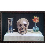 Mexican oil original painting of a skull, hour glass, and flower. WAS $225 now $ - $200.00