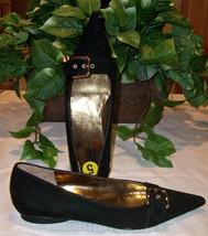 Dolce & Gabbana Dress Flats Black Suede Lthr 35 5 NWOB Italy - $79.00