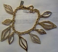 Coach Charm Bracelet Multi Leaves Leaf Gold Stones Crystals 96547 MSRP $248 - $89.00