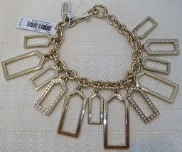 Coach Charm Pave Hangtag Bracelet Multi Crystals 96327 MSRP $198 NWT Gold - $74.00
