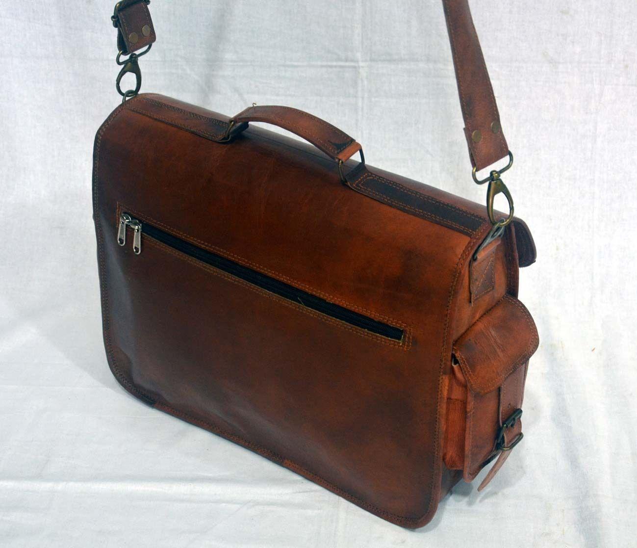 vintage soft leather messenger brown real laptop satchel bag camera briefcase image 3
