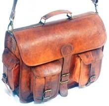 vintage soft leather messenger brown real laptop satchel bag camera briefcase image 2