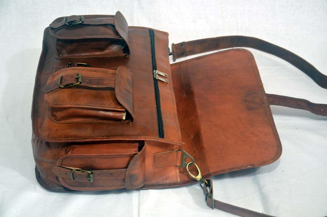 vintage soft leather messenger brown real laptop satchel bag camera briefcase image 4