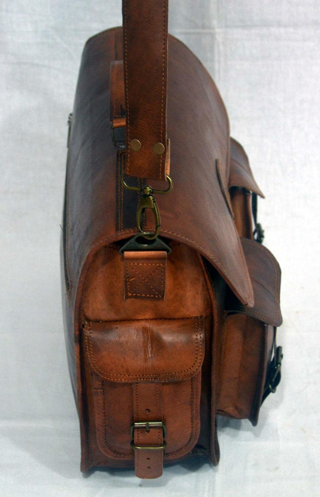 vintage soft leather messenger brown real laptop satchel bag camera briefcase image 5