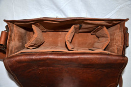 vintage soft leather messenger brown real laptop satchel bag camera briefcase image 7