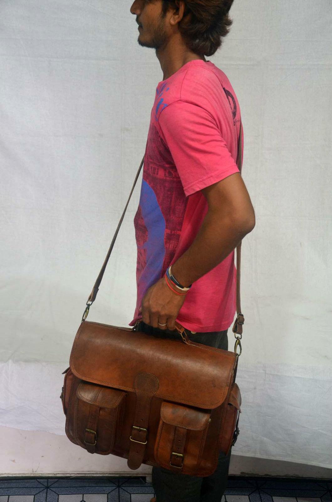 vintage soft leather messenger brown real laptop satchel bag camera briefcase image 6