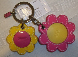 Coach Leather Daisy Flower Picture Frame Patent Keychain Key Fob 93125 NWT - $59.00